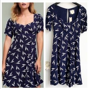 Anthropologie Maeve Navy Leaf Print Dress Size 2